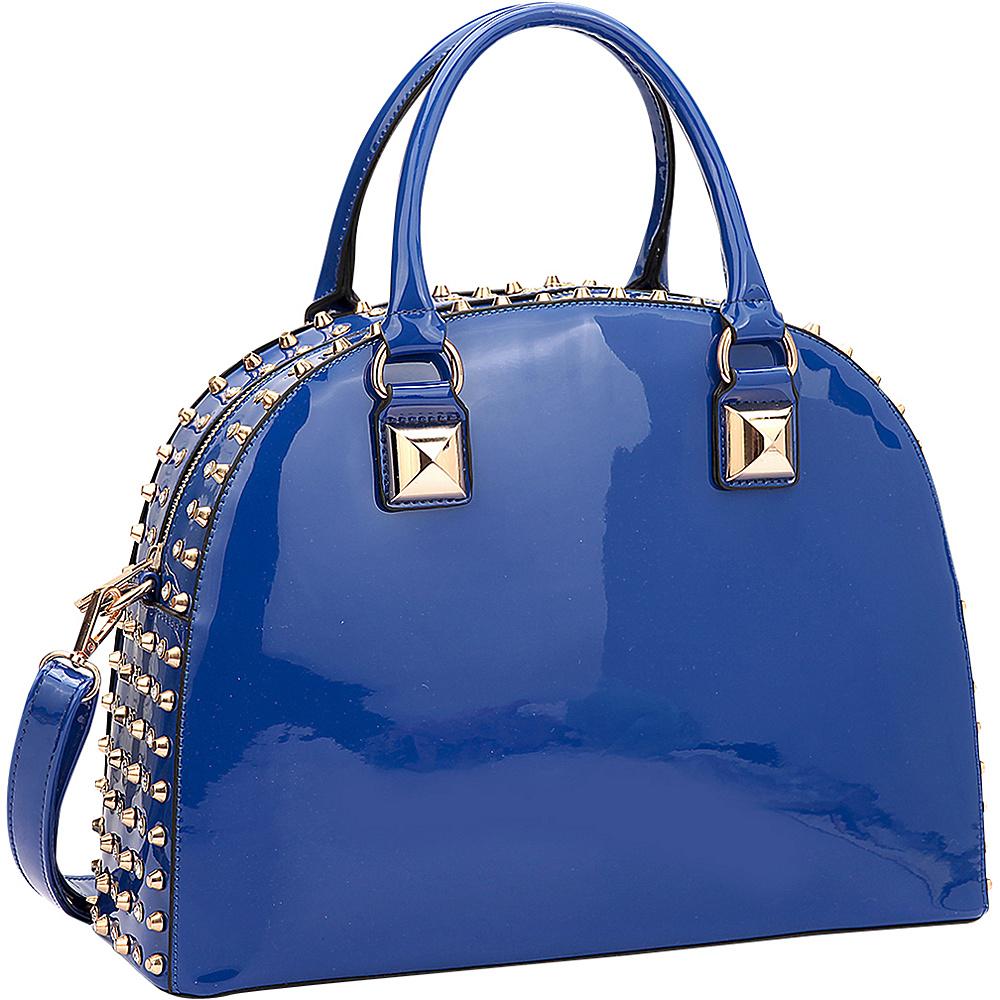 Dasein Rhinestone Studded Dome Zip Around Flat Bottom Shoulder Bag Blue - Dasein Manmade Handbags - Handbags, Manmade Handbags