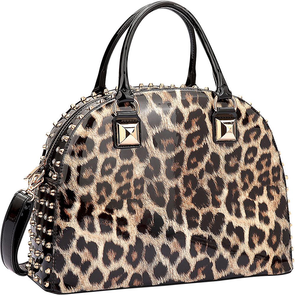 Dasein Rhinestone Studded Dome Zip Around Flat Bottom Shoulder Bag Leopard - Dasein Manmade Handbags - Handbags, Manmade Handbags