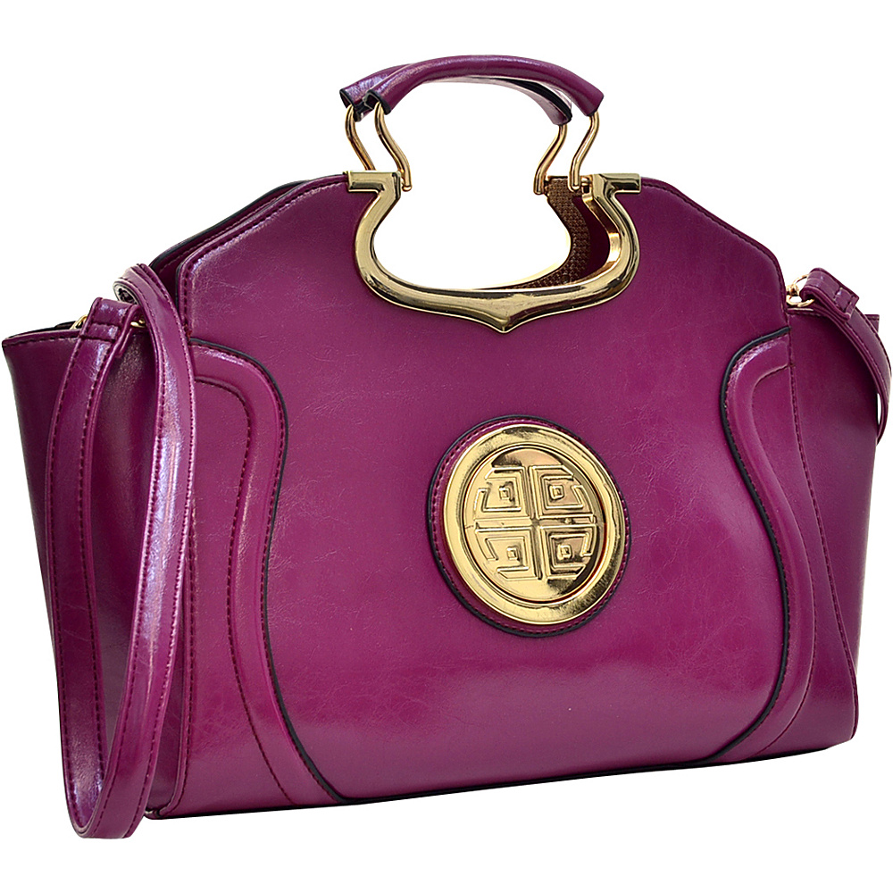 Dasein Drop Handle Deep Gloss Winged Shoulder Bag with Removable Shoulder Strap Purple - Dasein Manmade Handbags - Handbags, Manmade Handbags