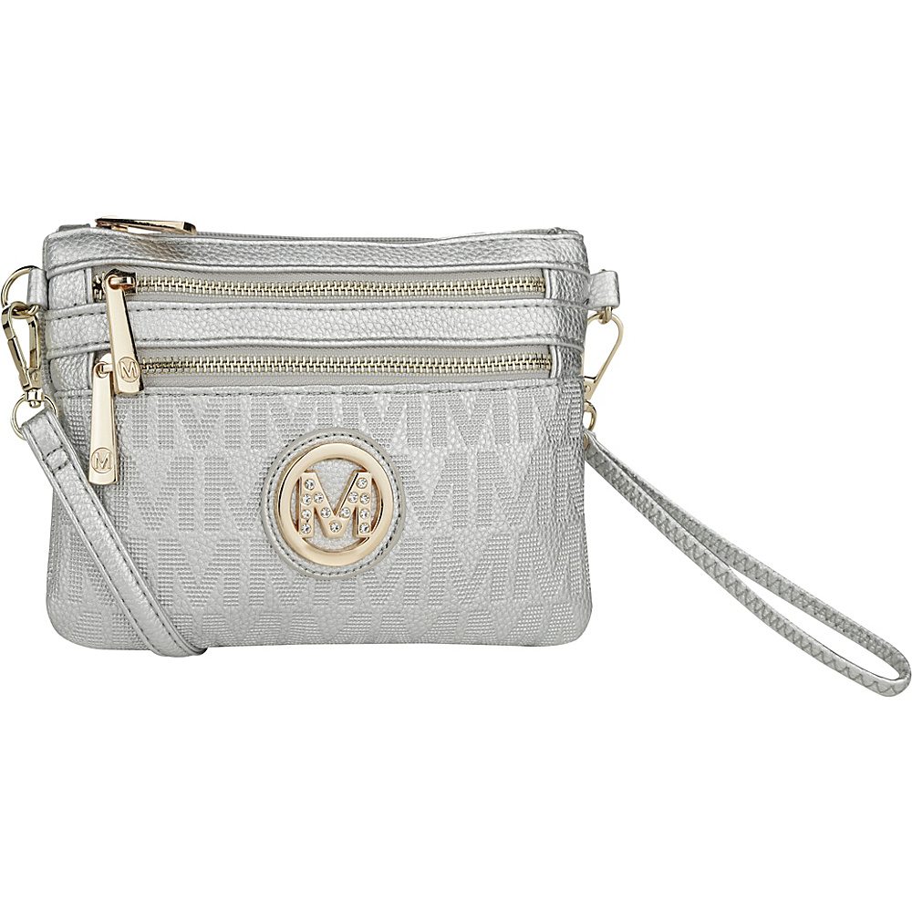MKF Collection by Mia K. Farrow Roonie M Signature Crossbody Silver - MKF Collection by Mia K. Farrow Manmade Handbags - Handbags, Manmade Handbags