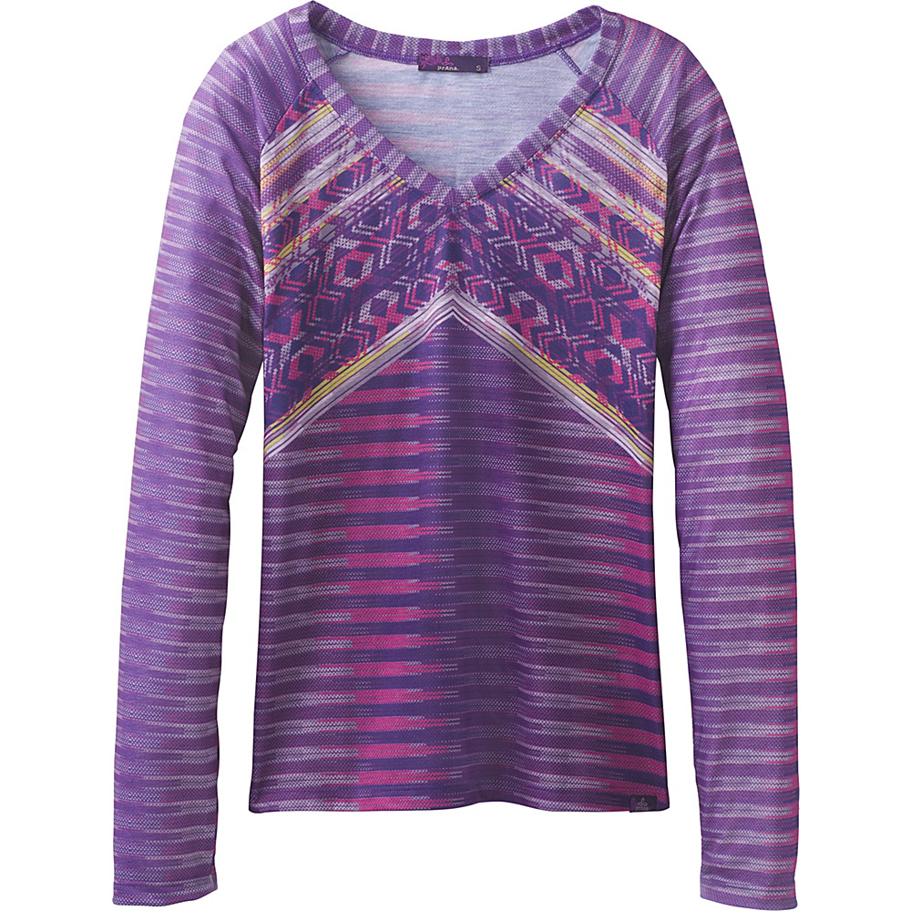 PrAna Baseball Portfolio V Neck T-Shirt L - Amethyst Tribe - PrAna Womens Apparel - Apparel & Footwear, Women's Apparel