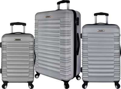 Elite Luggage Tustin 3 Piece Hardside Spinner Luggage Set Silver - Elite Luggage Luggage Sets