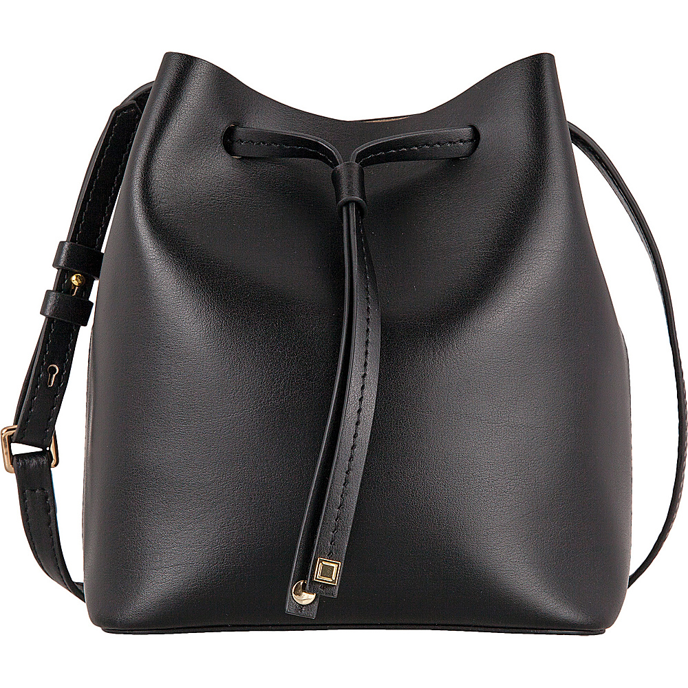 Lodis Silicon Valley RFID Blake Small Drawstring Crossbody Black/ Taupe - Lodis Leather Handbags - Handbags, Leather Handbags