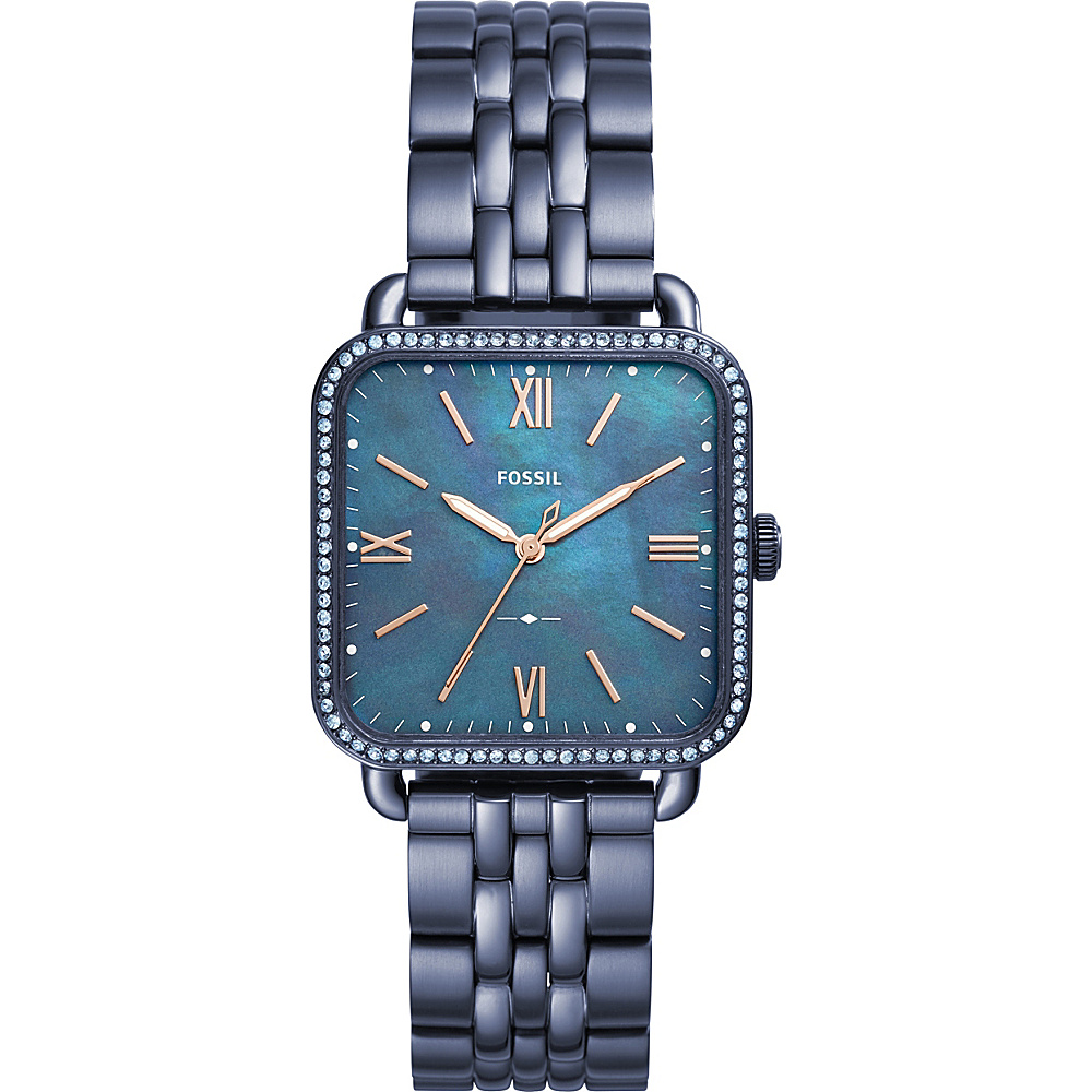 Fossil Micah Three-Hand Stainless Steel Watch Blue - Fossil Watches - Fashion Accessories, Watches