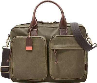 Fossil Defender Top Zip Workbag Green - Fossil Messenger Bags
