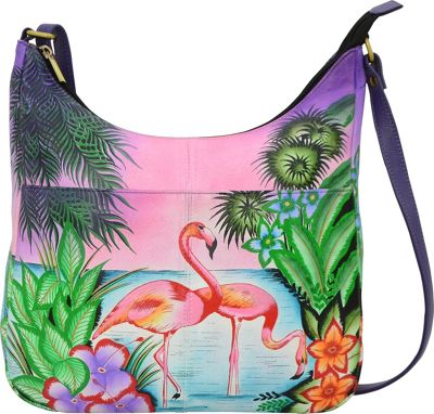 ANNA by Anuschka Hand Painted Medium Shopper Bag Tropical Flamingos - ANNA by Anuschka Leather Handbags