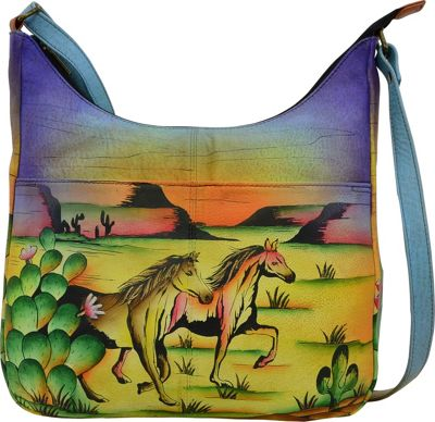 ANNA by Anuschka Hand Painted Medium Shopper Bag Arizona Mustang - ANNA by Anuschka Leather Handbags