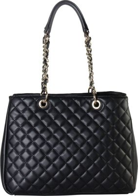 Rimen & Co Large Quilted Multi Spaced Tote with Chain Handle Black - Rimen & Co Manmade Handbags