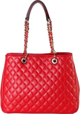 Rimen & Co Large Quilted Multi Spaced Tote with Chain Handle Red - Rimen & Co Manmade Handbags