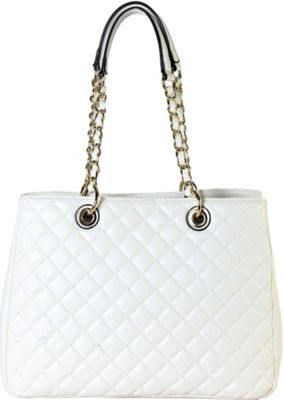 Rimen & Co Large Quilted Multi Spaced Tote with Chain Handle White - Rimen & Co Manmade Handbags