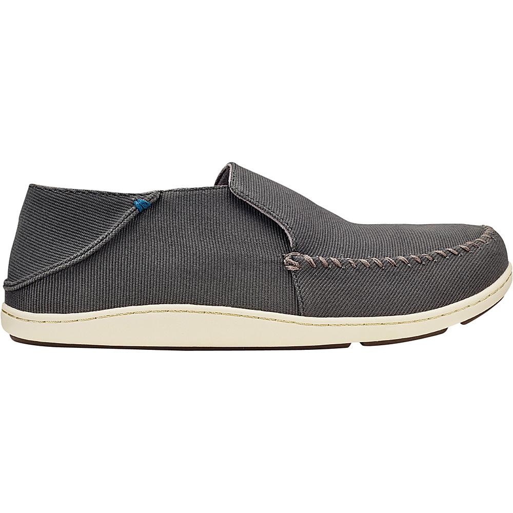 OluKai Mens Akahai Canvas Slip-On 10 - Dark Shadow/Dark Shadow - OluKai Mens Footwear - Apparel & Footwear, Men's Footwear