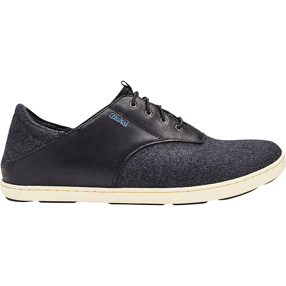 OluKai Mens Nohea Moku Hulu Shoe 7 - Black/Dark Shadow - OluKai Mens Footwear - Apparel & Footwear, Men's Footwear