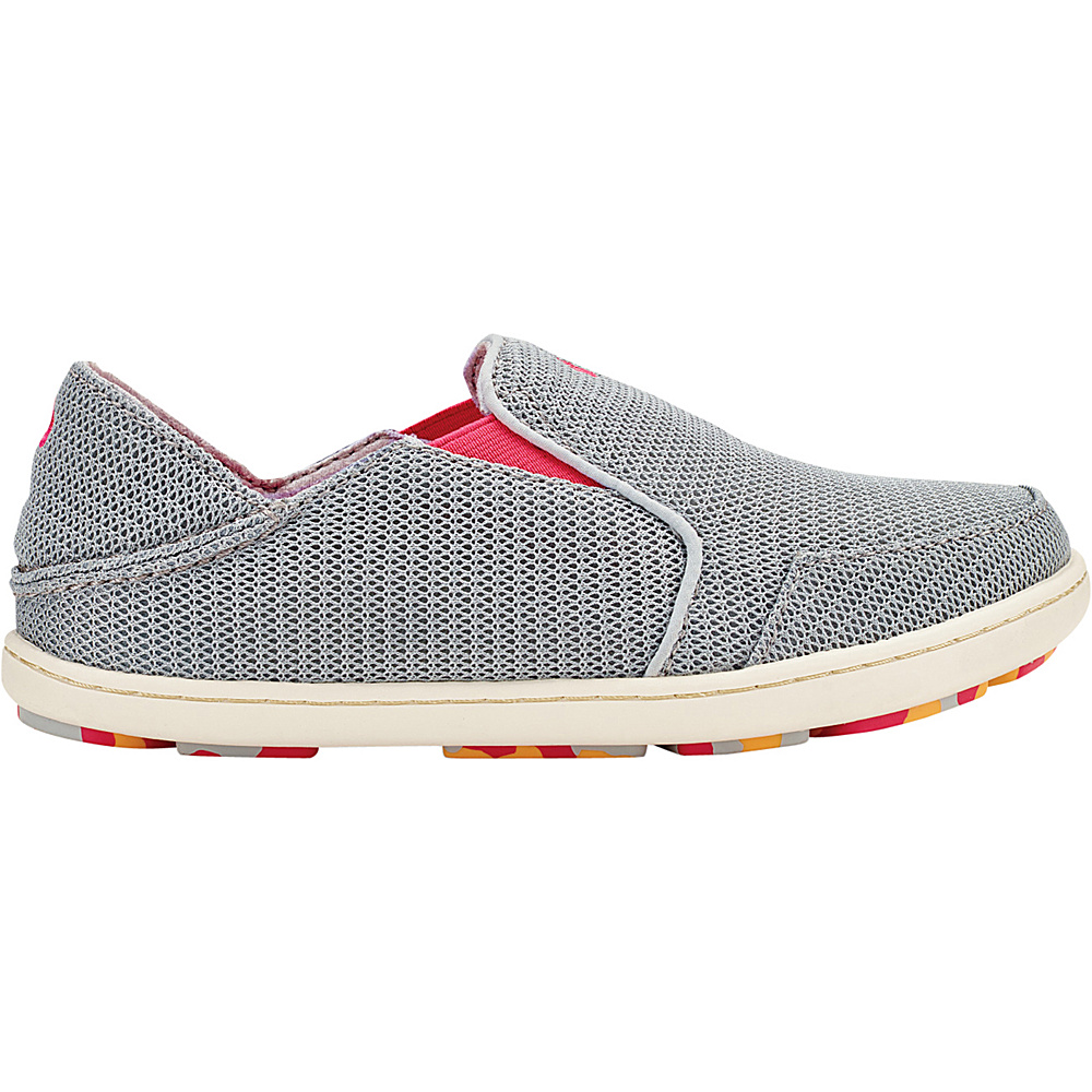 OluKai Girls Nohea Mesh Slip-On 9 (US Toddlers) - Pale Grey/Dark Hibiscus - OluKai Womens Footwear - Apparel & Footwear, Women's Footwear