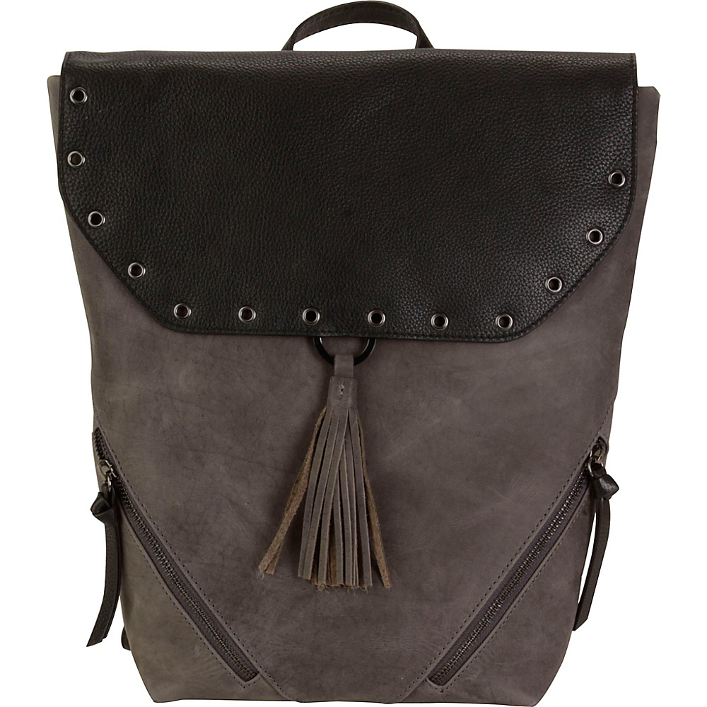 Hadaki Urban Grommet Backpack Distressed Gray/Black - Hadaki Leather Handbags - Handbags, Leather Handbags