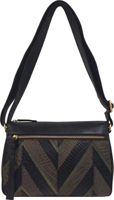 Great American Leatherworks Chevron Patchwork Adjustable Crossbody Black Neutral/Black - Great American Leatherworks Leather Handbags