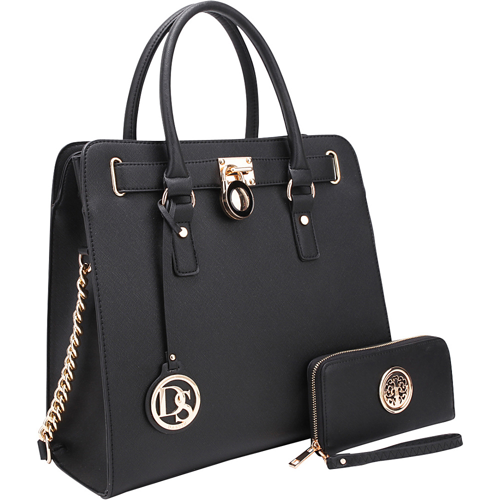 Dasein Large Satchel with Matching Wallet Black - Dasein Manmade Handbags - Handbags, Manmade Handbags