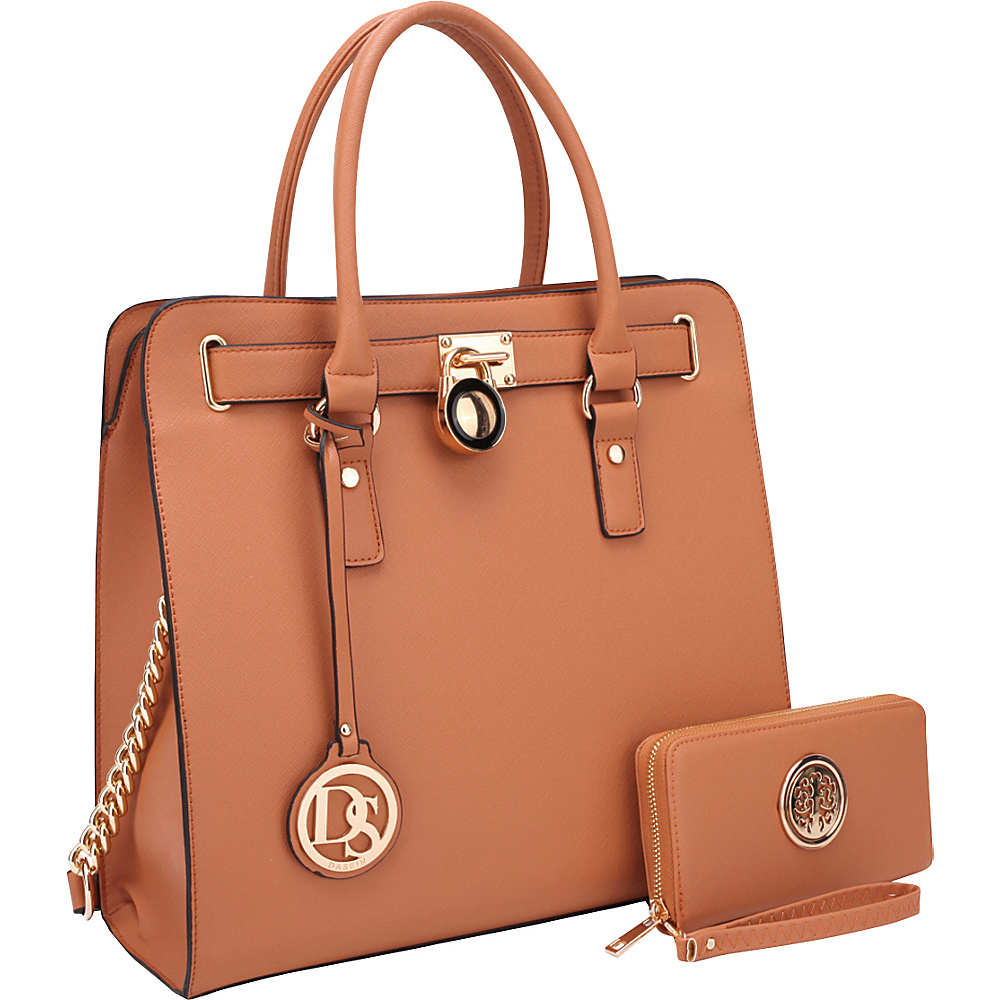 Dasein Large Satchel with Matching Wallet Brown - Dasein Manmade Handbags - Handbags, Manmade Handbags