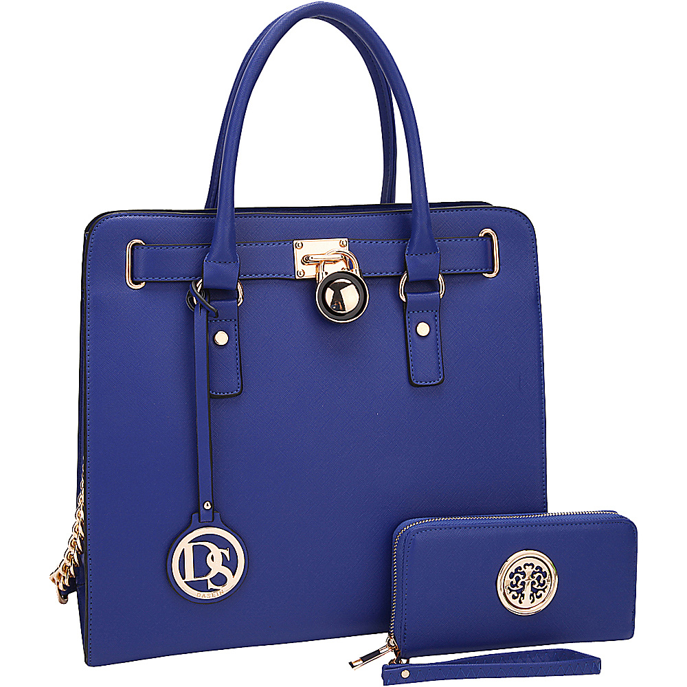 Dasein Large Satchel with Matching Wallet Blue - Dasein Manmade Handbags - Handbags, Manmade Handbags