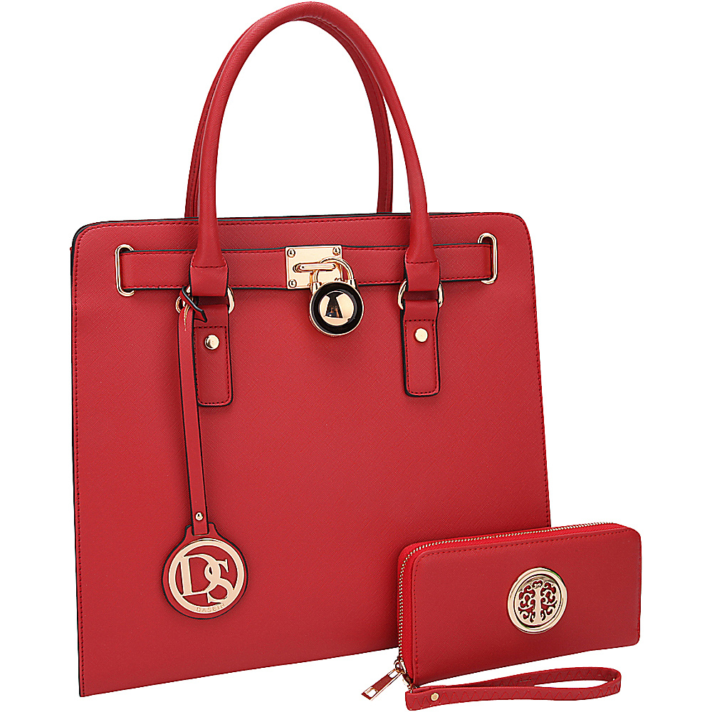 Dasein Large Satchel with Matching Wallet Red - Dasein Manmade Handbags - Handbags, Manmade Handbags