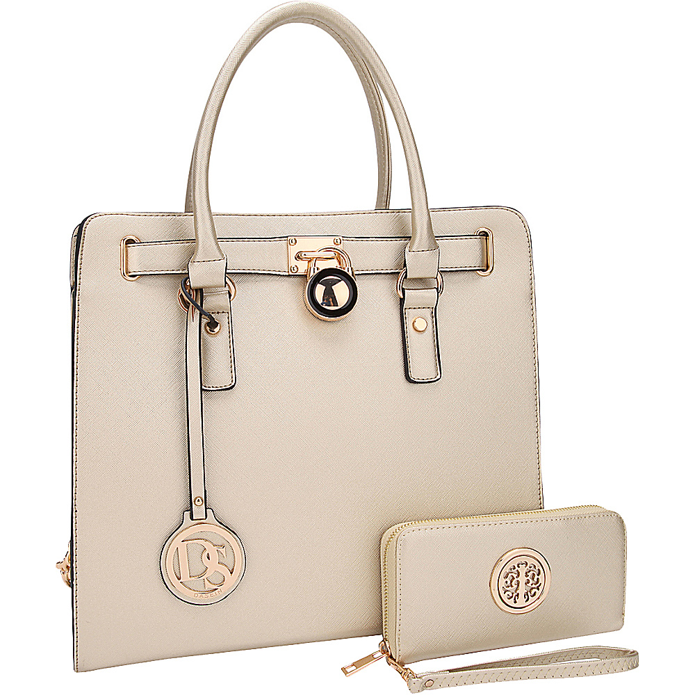Dasein Large Satchel with Matching Wallet Gold - Dasein Manmade Handbags - Handbags, Manmade Handbags