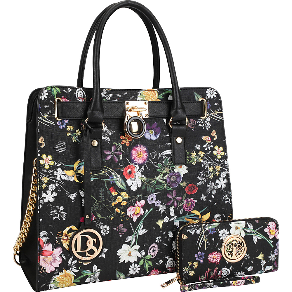 Dasein Large Flower Print Satchel with Matching Wallet Black Flower - Dasein Manmade Handbags - Handbags, Manmade Handbags