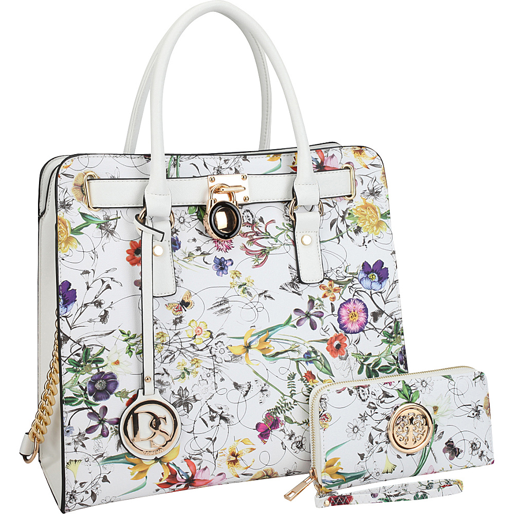 Dasein Large Flower Print Satchel with Matching Wallet White Flower - Dasein Manmade Handbags - Handbags, Manmade Handbags