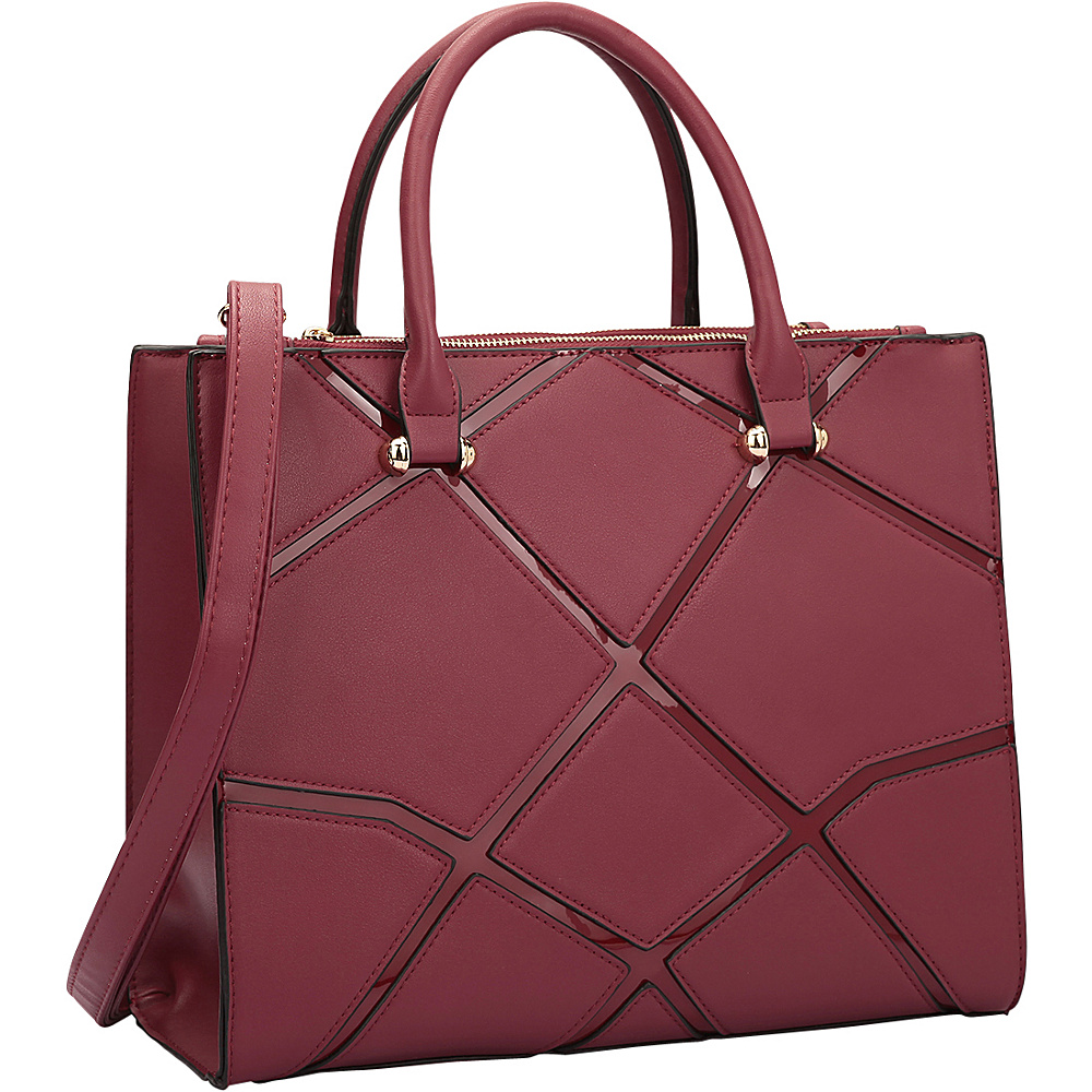 Dasein Medium Classic Satchel with Front Crosshatch Patch Design Burgundy - Dasein Manmade Handbags - Handbags, Manmade Handbags