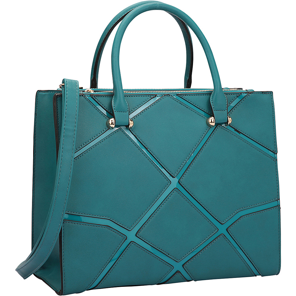 Dasein Medium Classic Satchel with Front Crosshatch Patch Design Turquoise - Dasein Manmade Handbags - Handbags, Manmade Handbags