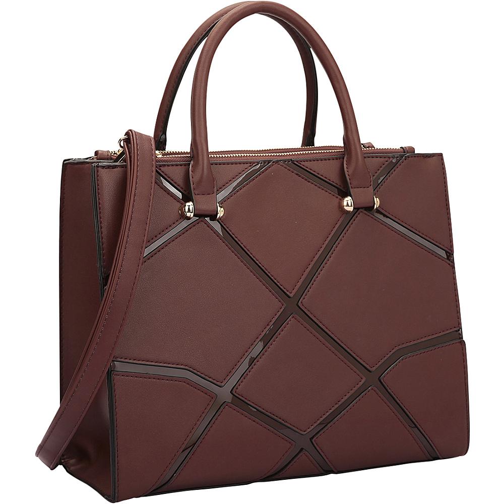 Dasein Medium Classic Satchel with Front Crosshatch Patch Design Coffee - Dasein Manmade Handbags - Handbags, Manmade Handbags
