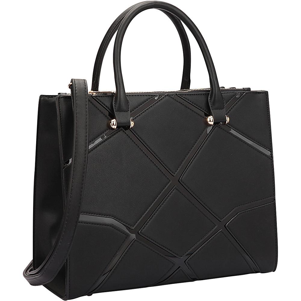 Dasein Medium Classic Satchel with Front Crosshatch Patch Design Black - Dasein Manmade Handbags - Handbags, Manmade Handbags