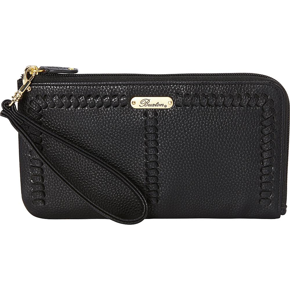 Buxton Whip Stitch RFID L-Zip Wristlet Black - Buxton Manmade Handbags - Handbags, Manmade Handbags