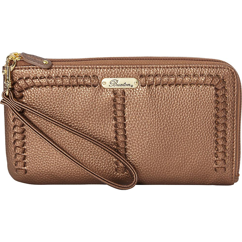 Buxton Whip Stitch RFID L-Zip Wristlet Metallic Gold - Buxton Manmade Handbags - Handbags, Manmade Handbags