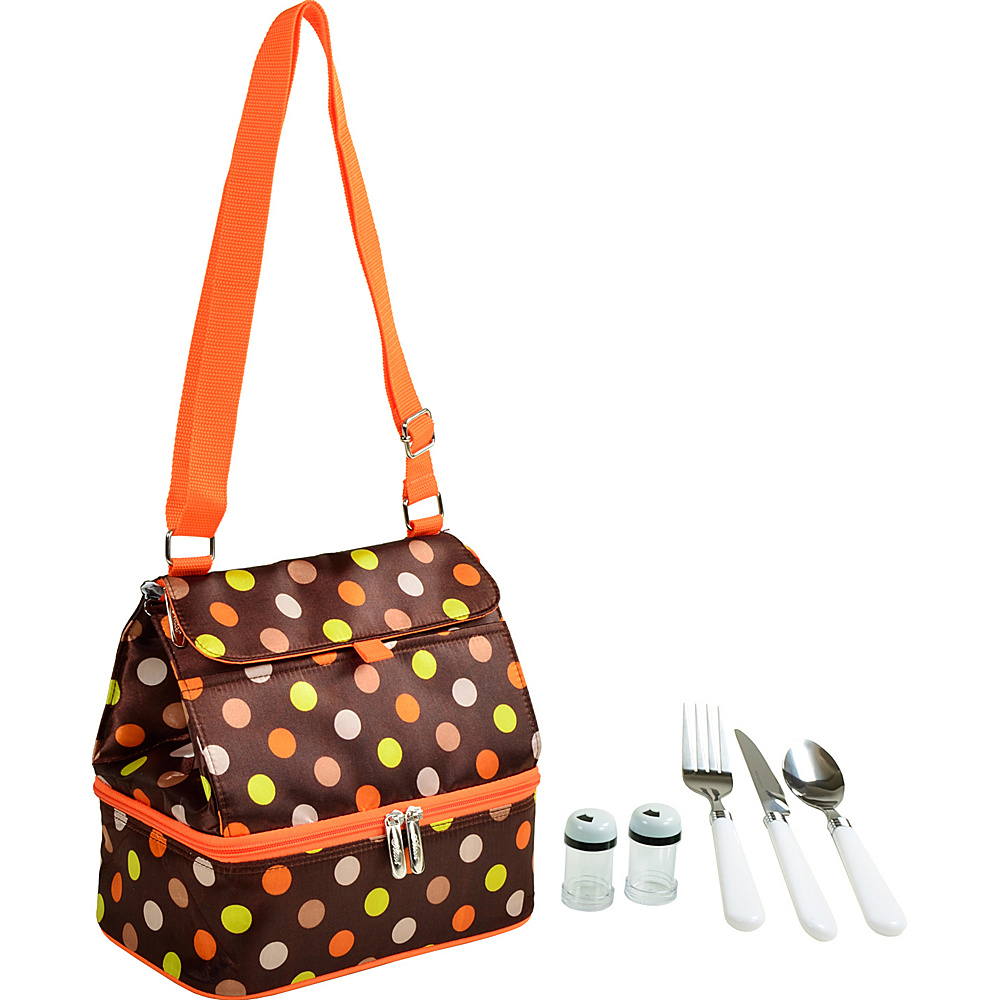 Picnic at Ascot Insulated Lunch Bag with Service for One Brown Julia Dot - Picnic at Ascot Travel Coolers - Travel Accessories, Travel Coolers
