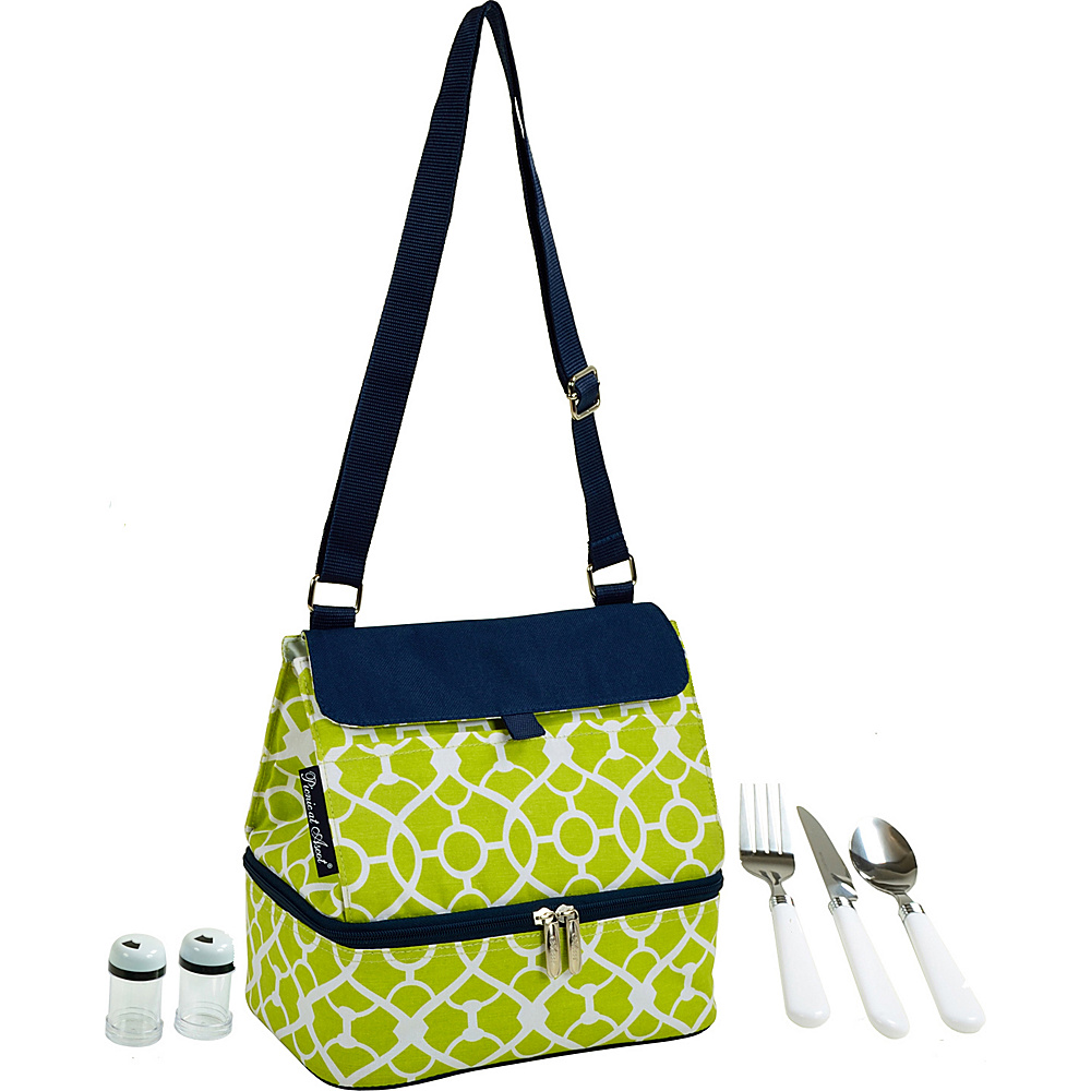 Picnic at Ascot Insulated Lunch Bag with Service for One Trellis Green - Picnic at Ascot Travel Coolers - Travel Accessories, Travel Coolers