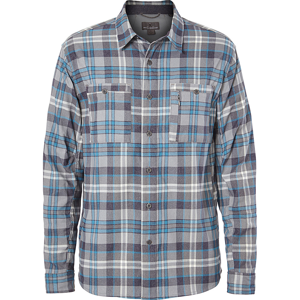 Royal Robbins Mens Treeline Stretch Performance Plaid Flannel Long Sleeve Shirt XXL - Light Glacier Blue - Royal Robbins Mens Apparel - Apparel & Footwear, Men's Apparel