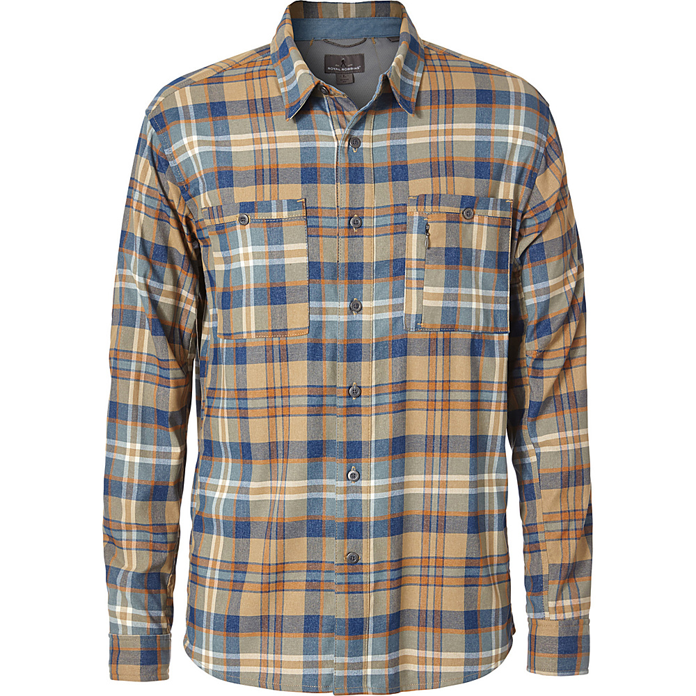 Royal Robbins Mens Treeline Stretch Performance Plaid Flannel Long Sleeve Shirt S - Desert - Royal Robbins Mens Apparel - Apparel & Footwear, Men's Apparel
