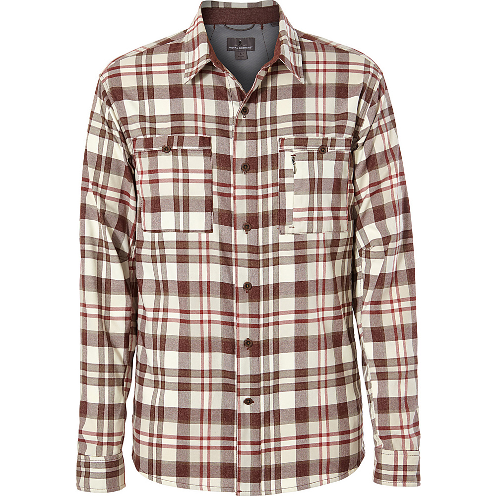 Royal Robbins Mens Treeline Stretch Performance Plaid Flannel Long Sleeve Shirt L - Red Rock - Royal Robbins Mens Apparel - Apparel & Footwear, Men's Apparel