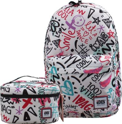 AfterGen Anti-Bully Backpack& Lunch Bag 2 Piece Set Super Cool White - AfterGen School & Day Hiking Backpacks