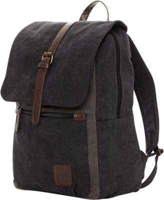 PX Lincoln Two Tone Canvas Laptop Backpack Black - PX Business & Laptop Backpacks