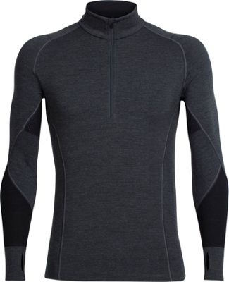 Icebreaker Mens Winter Zone Long Sleeve Half Zip S - Jet Heather/Black/Lunar - Icebreaker Men's Apparel