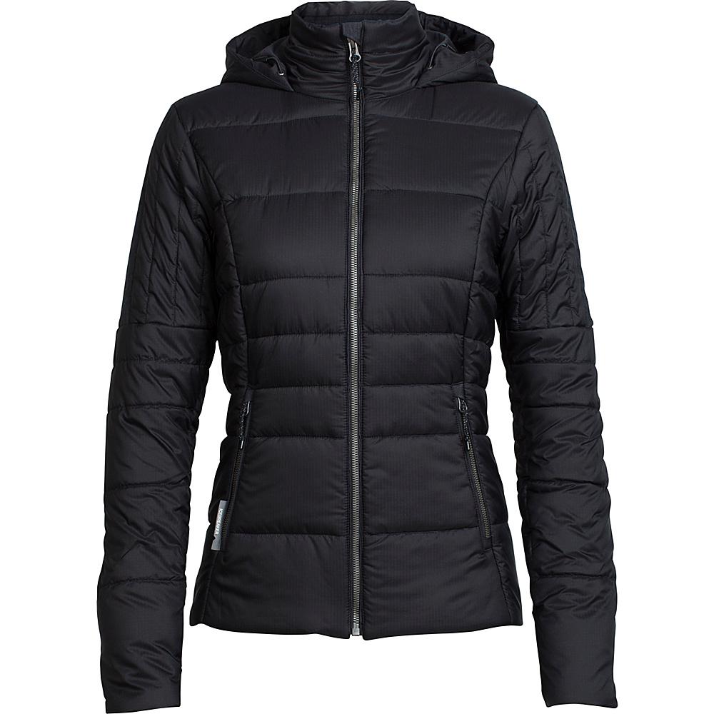 Icebreaker Womens Stratus X Hooded Jacket L - Black/Jet Heather - Icebreaker Womens Apparel - Apparel & Footwear, Women's Apparel
