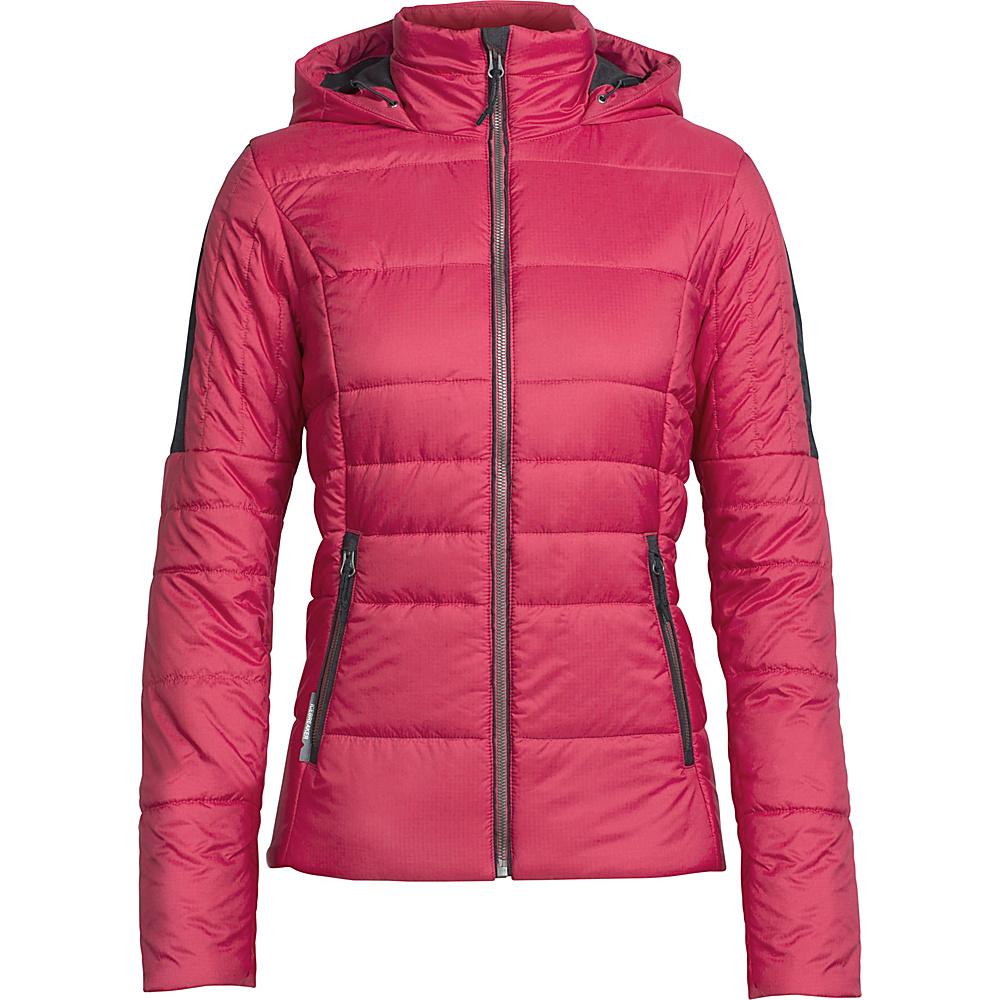 Icebreaker Womens Stratus X Hooded Jacket L - Wild Rose/Jet Heather - Icebreaker Womens Apparel - Apparel & Footwear, Women's Apparel