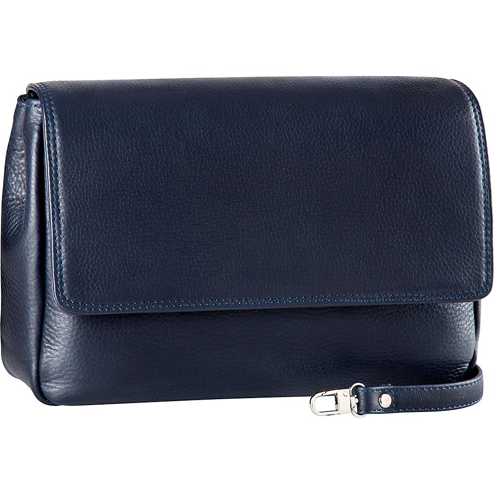 Derek Alexander Ladies Soft Clutch with Removable Strap Navy - Derek Alexander Evening Bags - Handbags, Evening Bags