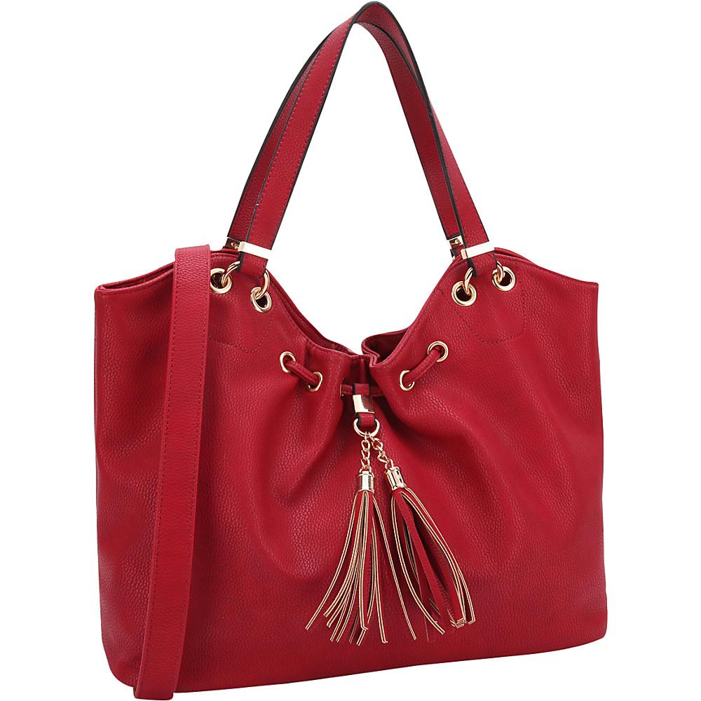 Dasein Drawstring Fringe Tassel Satchel Red - Dasein Manmade Handbags - Handbags, Manmade Handbags