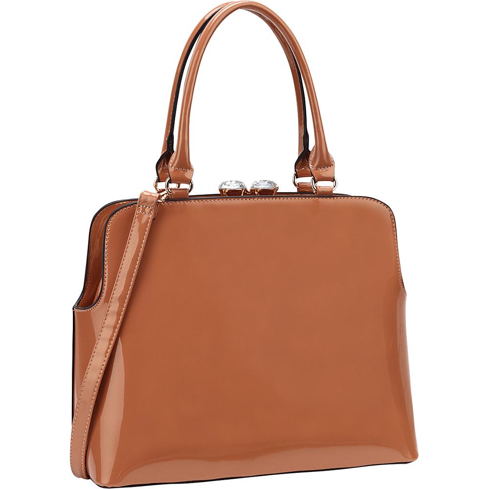 Dasein Rhinestone Kiss Lock Satchel Beige - Dasein Manmade Handbags - Handbags, Manmade Handbags