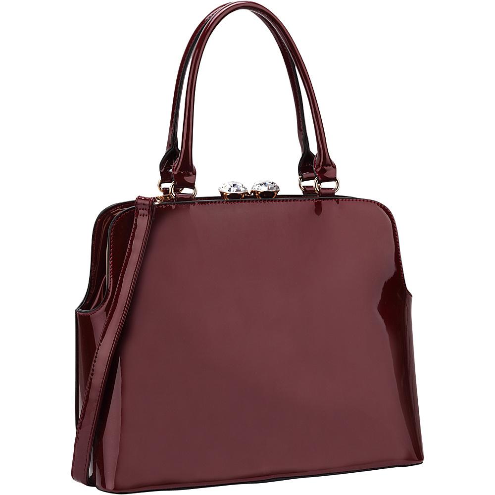 Dasein Rhinestone Kiss Lock Satchel Wine - Dasein Manmade Handbags - Handbags, Manmade Handbags