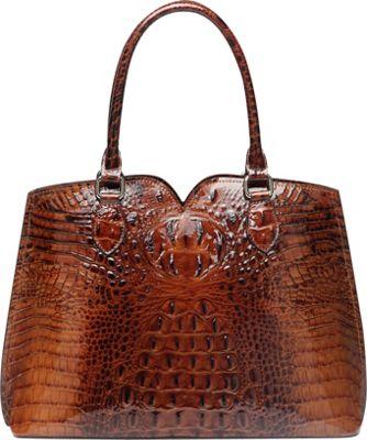 Vicenzo Leather Maya Croc Embossed Leather Tote Handbag Chestnut - Vicenzo Leather Leather Handbags