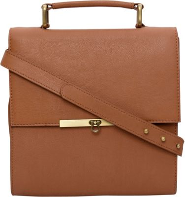 Phive Rivers Flapover Leather Crossbody Tan - Phive Rivers Leather Handbags