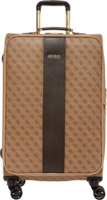 GUESS Travel Nissana 24 inch Expandable Spinner Checked Luggage Brown with Gold Hardware - GUESS Travel Softside Checked