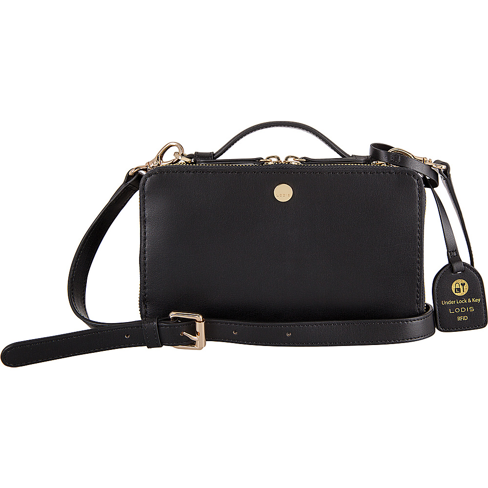 Lodis Downtown RFID Sally Zip Around Crossbody Black - Lodis Leather Handbags - Handbags, Leather Handbags